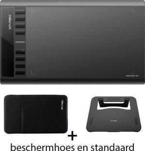 XP-pen Star03 V2 met Beschermhoes & Stand - Tekentablet - Grafische tablet - Portable tablet met 8 sneltoetsen - Zwart