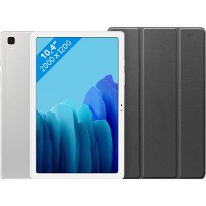 Samsung Galaxy Tab A7 32GB Wifi Zilver + Just in Case Book Case Zwart