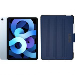 Apple iPad Air (2020) 10.9 inch 256 GB Wifi + 4G Hemelsblauw + Metropolis Book Case Blauw