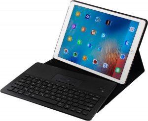 Stand Hoesje met Afneembaar Bluetooth Achtergrondverlichting Toetsenbord en Smartphone Houder voor iPad Pro 12.9 (2017/2015) _ Zwart